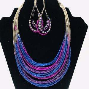Layered Wired Beaded Necklace Earring Set